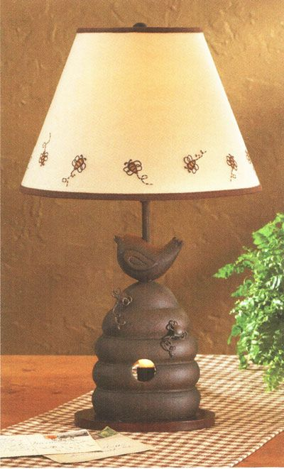 primitive lamp pictures | Beehive Lamp with shade, bee bird ...