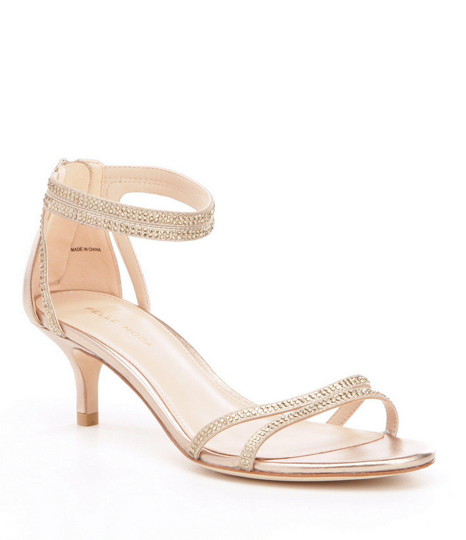 Fillis Rhinestone Detail Suede Kitten-Heel Ankle Strap Dress Sandals llOjN4