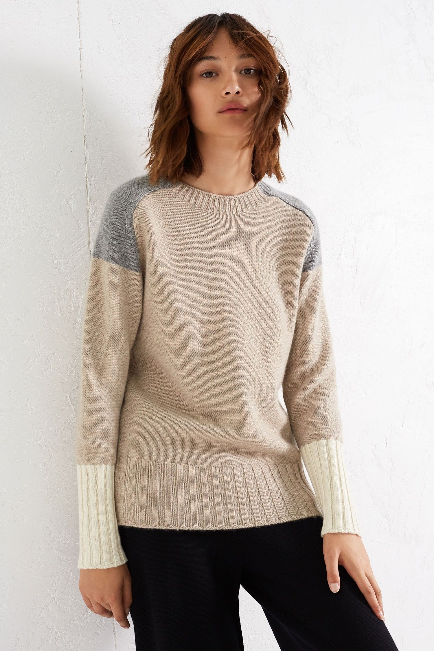 Oatmeal Colour Block Cashmere Sweater | Luxury Cashmere Sweaters ...