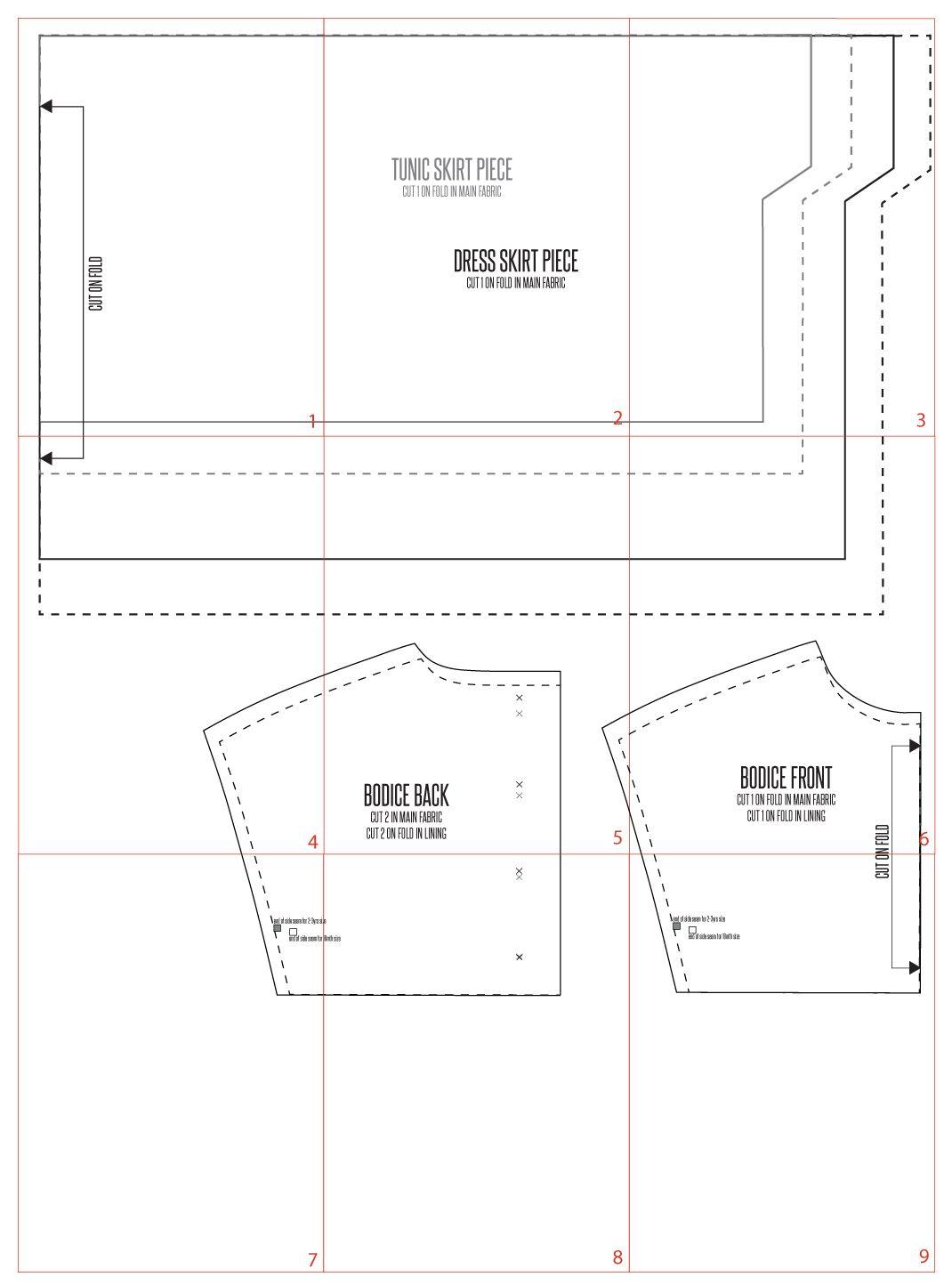 Simple tunic or dress pattern | Patrones, Ropa niña y Costura