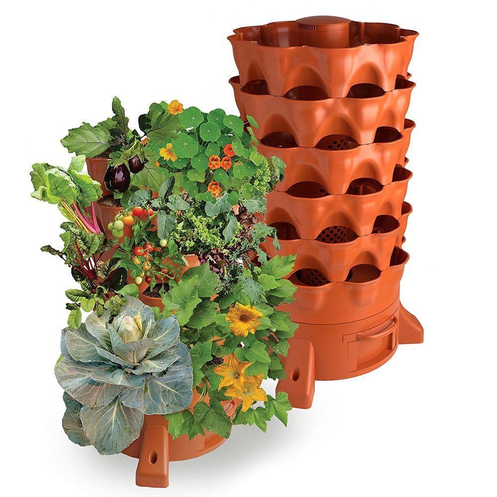 garden tower rotating vertical flower planter pot 50 plant