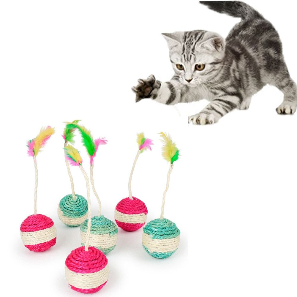 Pet Cat Kitten Mouse Tumbler Ball Toy Feather Chaser Funny Rolling Mice Toy W