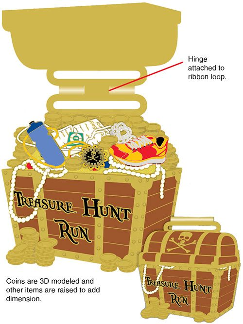 "The Treasure Hunt Virtual Run. Hinged 3.5"" medal"