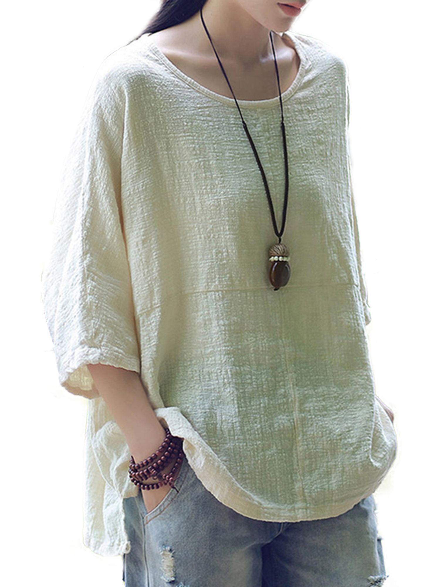 Vintage Women/'s Casual 3//4 Sleeve Baggy Cotton Linen T-Shirt Tops Blouse Tee
