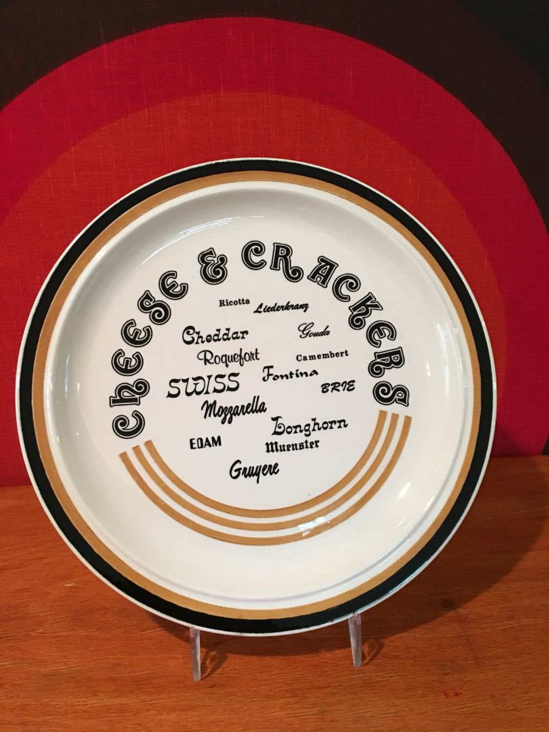 Vintage Cheese and Crackers Platter USA Pottery Cheese and Cracker Chop Plate Retro & Vintage Cheese and Crackers Platter USA Pottery Cheese and Cracker ...