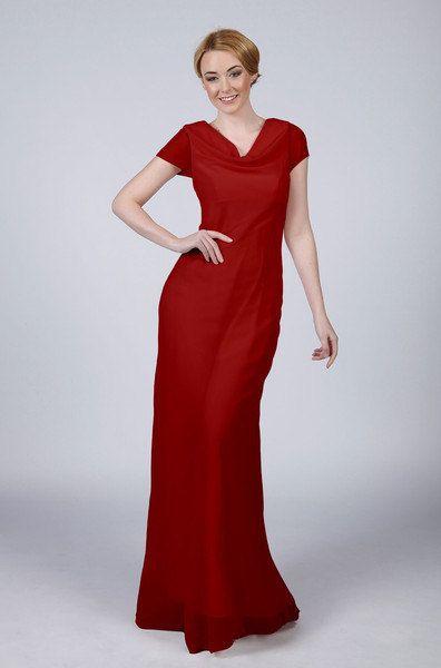 ef792daeb00a Mått vackra Long Cowl Neck brudtärna balklänning i en rad olika färger  Inklusive Ruby Red
