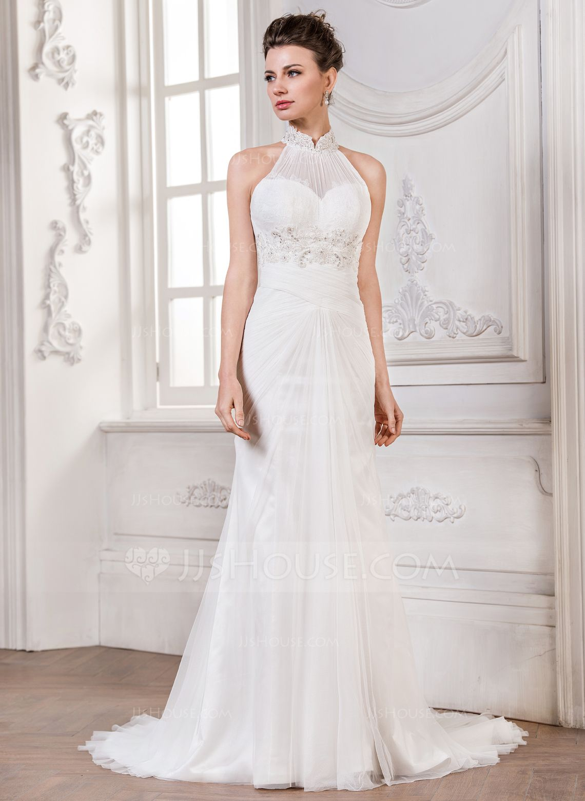 Wedding dress without train  TrumpetMermaid High Neck Court Train Ruffle Lace Beading Sequins