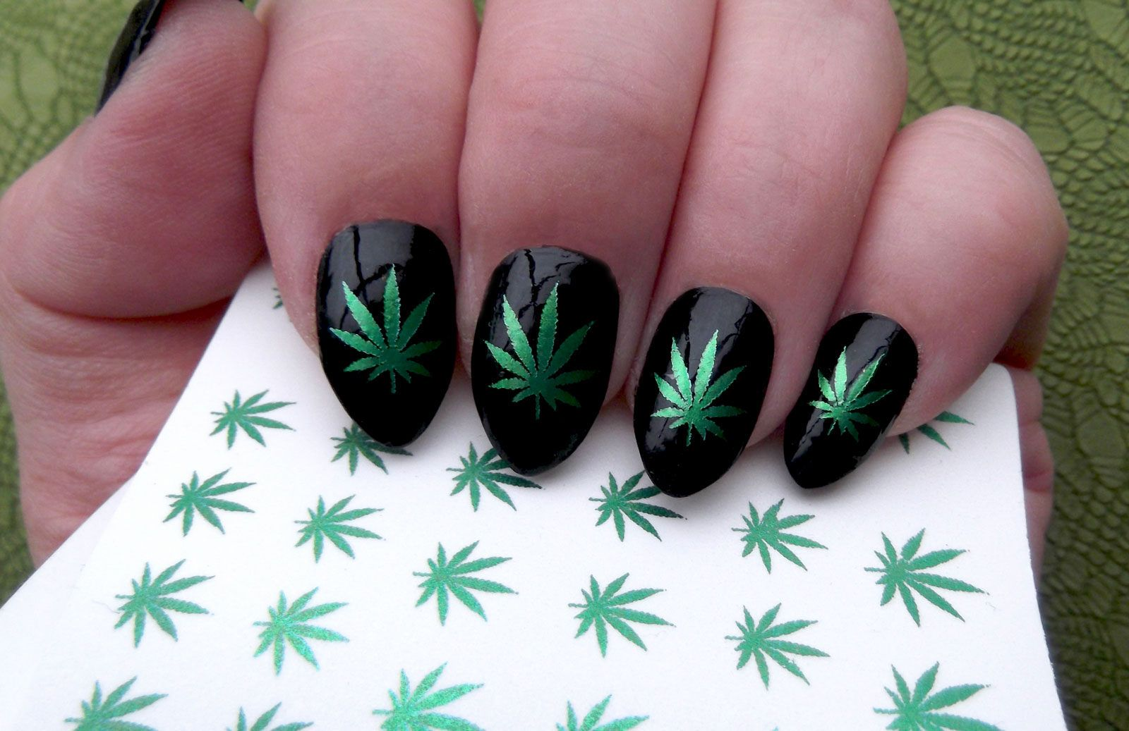 Green Metallic POT LEAVES Nail art (PTM) Symbols Pot Leaf Marijuana ...