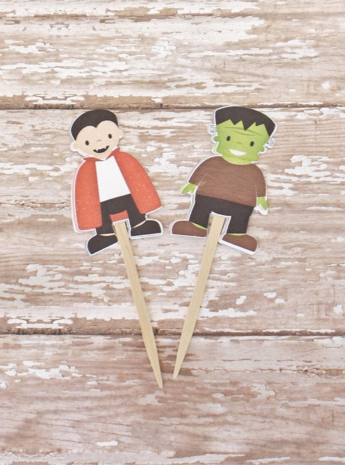Halloween Cupcake Toppers-Frankenstein and Dracula-Set of 12 by lapetiteenvelope on Etsy