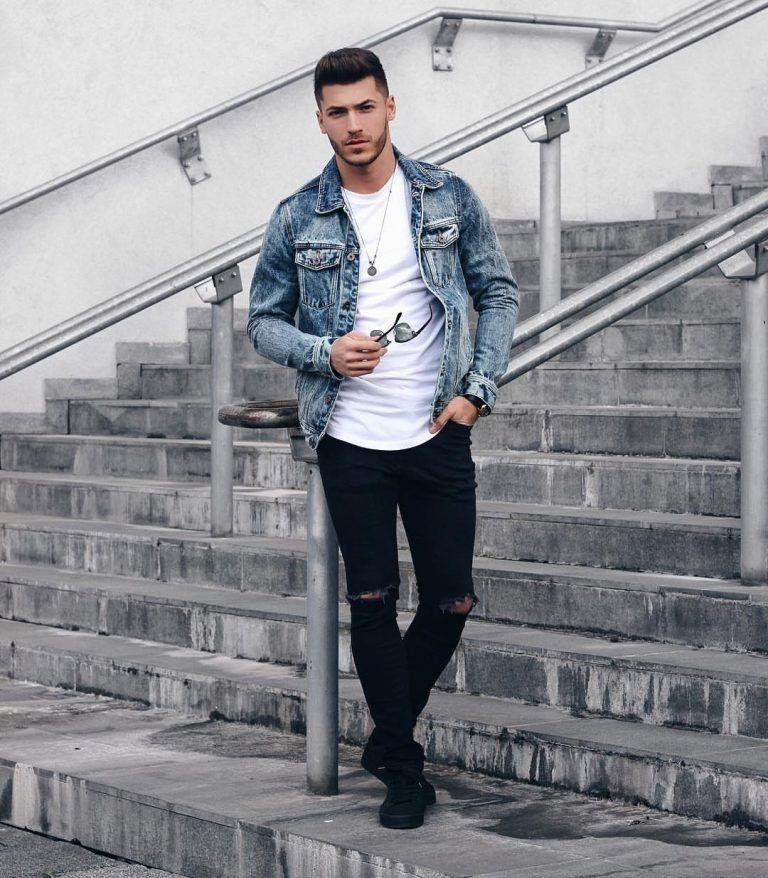 Blue Denim Jacket White Tee Black Ripped Jeans Black Shoes Denim Outfit Men Denim Jacket Men How To Wear Denim Jacket