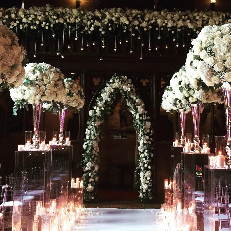 the great hall of the peckforton castle styledred floral