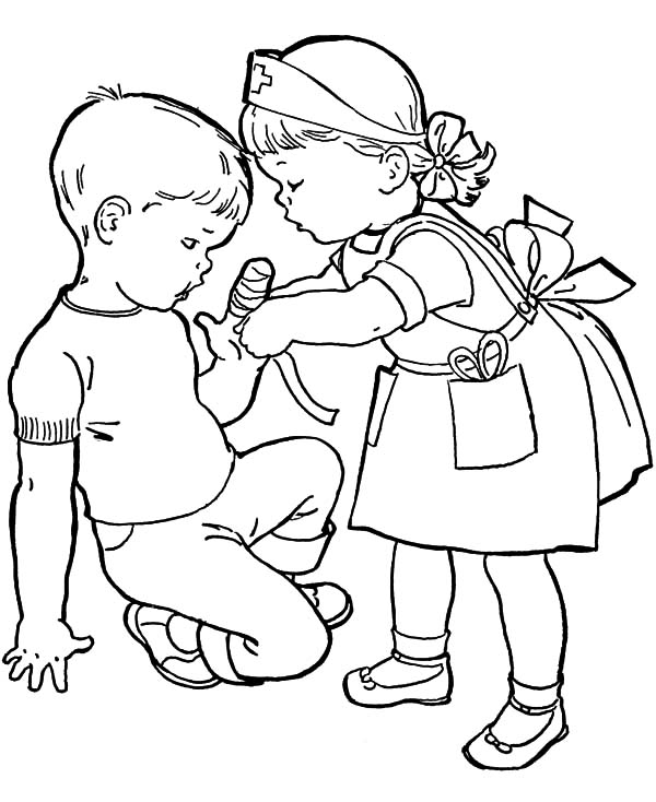 Put Some Bandage To Cover Wound Helping Others Coloring Pages Coloring Sky People Coloring Pages Sunday School Coloring Pages Coloring Pages