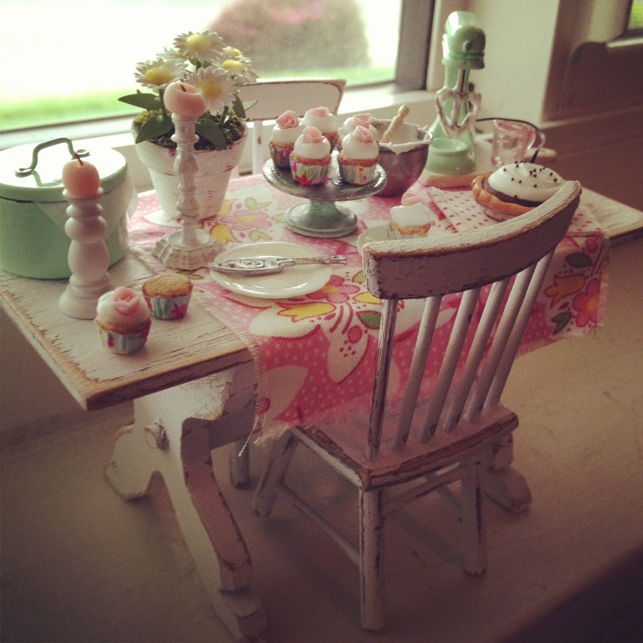 Miniature shabby chic filled baking table and chairs 159