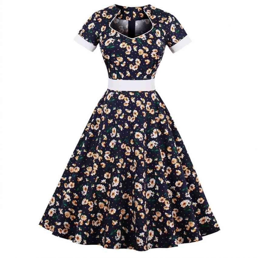 67934a8d2e49a Women Plus Size Vintage Style Floral Printed Short Sleeve A Line ...
