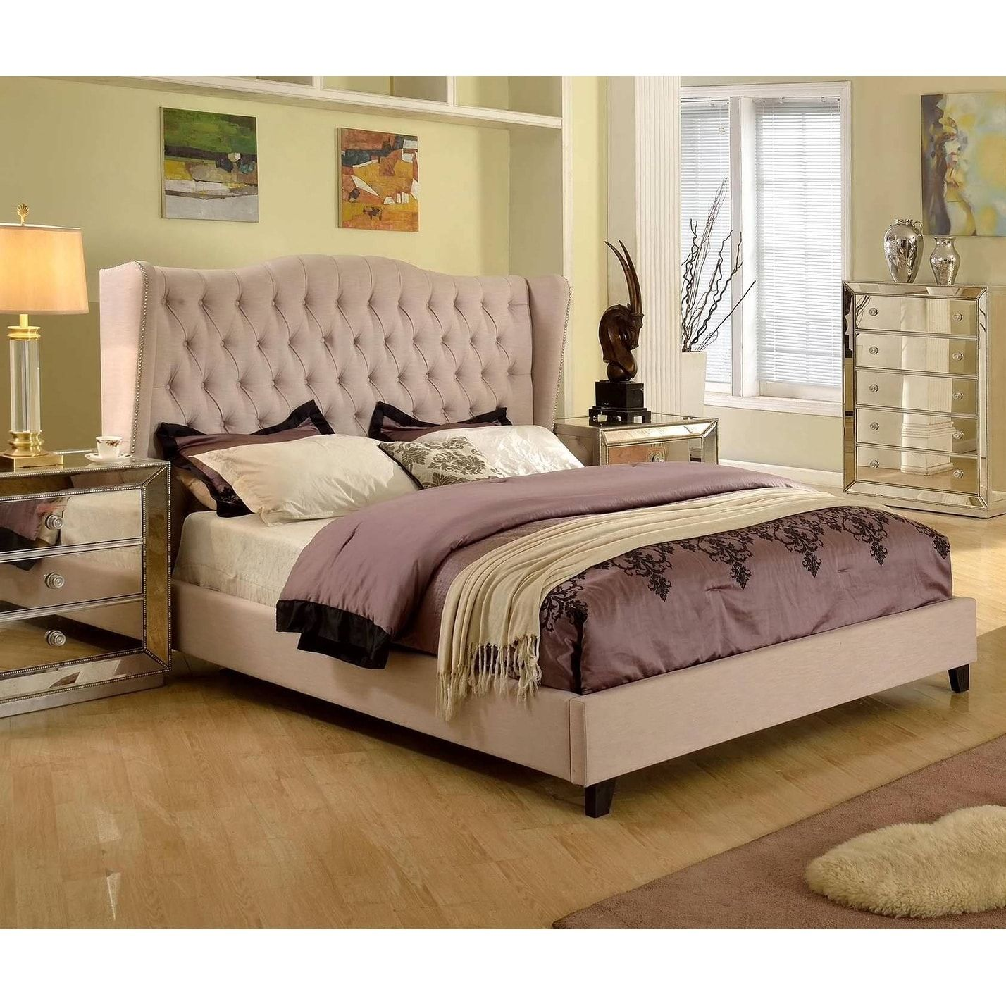 Best Master Furniture Upholstered Taupe Panel Bed (Queen