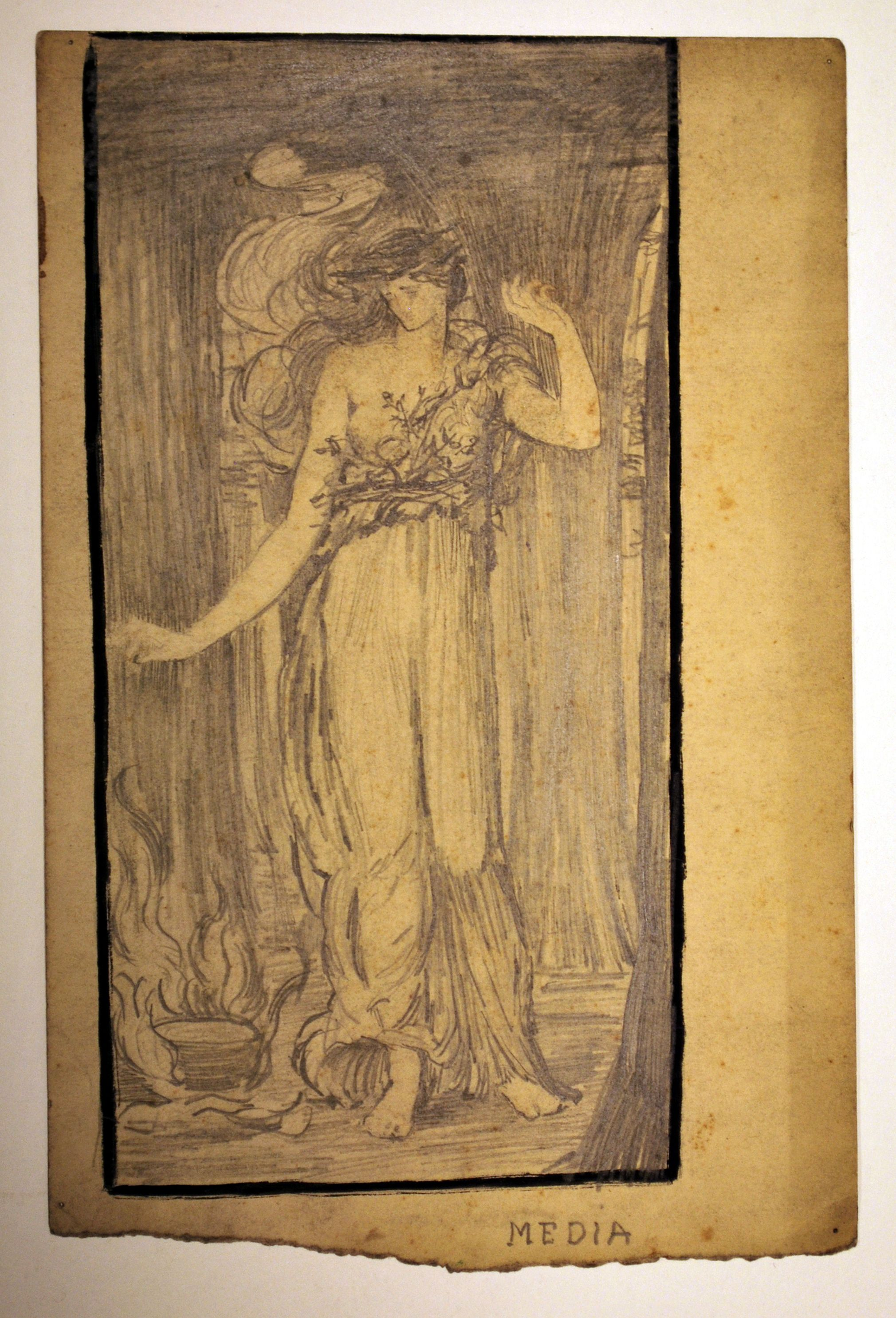 Artist: Evelyn De Morgan  Object: Study of standing female figure in drapery and vines  Museum Number: D_EDM_D0272  Dates: 1873 - 1919