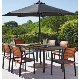 buy sorrento 6 seater patio furniture set with parasol brown at argosco - Garden Furniture 6 Seats