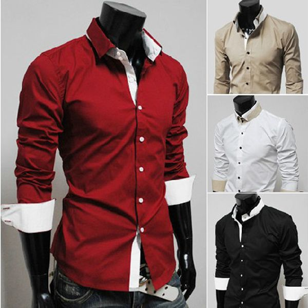 Mens Casual Slim Fit Dress Shirts White Black Red Khaki | Slim fit ...