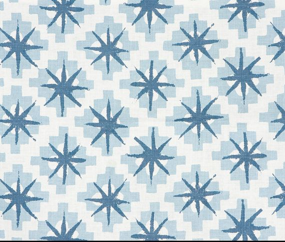 Peter Dunham Starburst Fabric Content: Linen Colorway: Blue/Blue Back: Ivory Linen