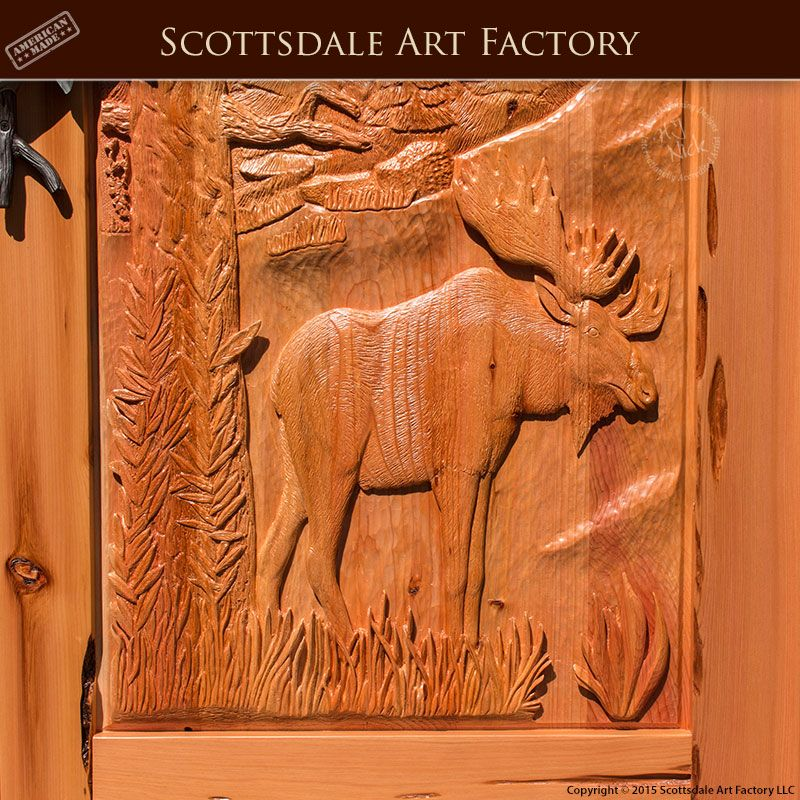 Moose Hand Carved Front Door Master Handcrafted From Solid