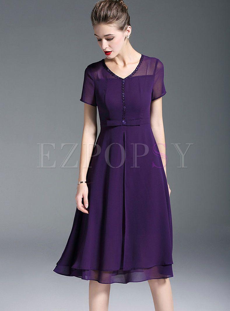 Purple V Neck Waist Chiffon Formal Dress Dresses Formal Dresses Fashion [ 1066 x 789 Pixel ]