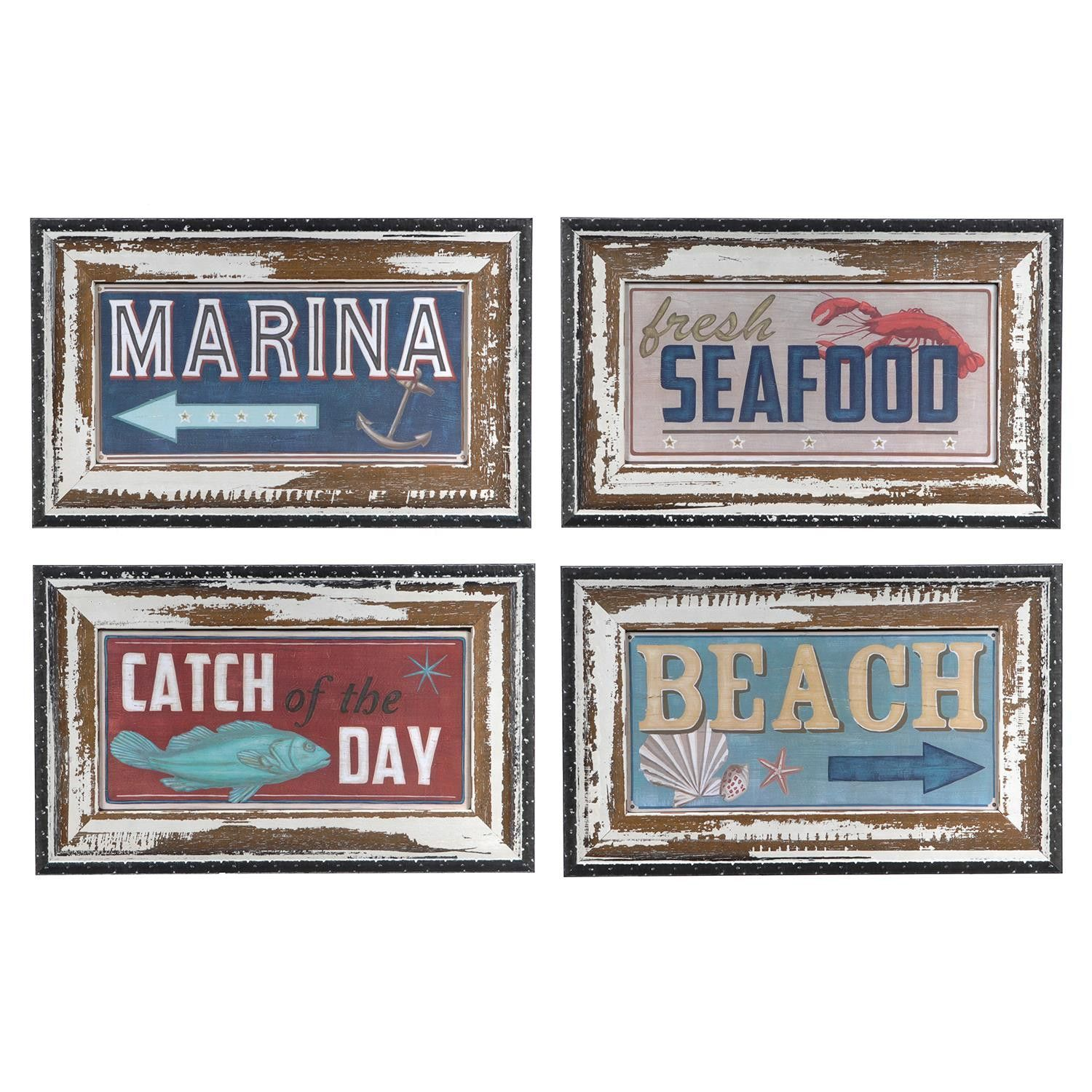 Crestview Shoreline Signs (Set Of Four) Framed Print CVA3359