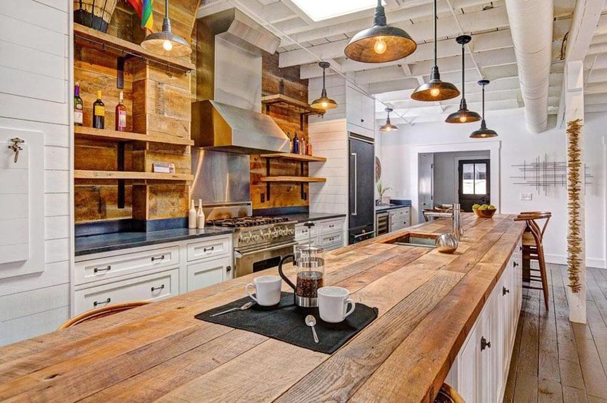25 Reclaimed Wood Kitchen Islands Pictures Country Kitchen