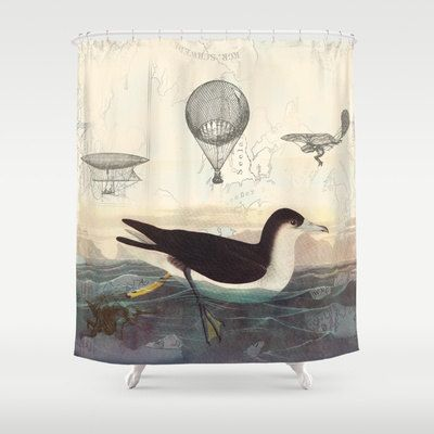 Steampunk Swimming Bird Shower Curtain   Vintage Illustration Fabric  ,  Historical, Beach, Unique