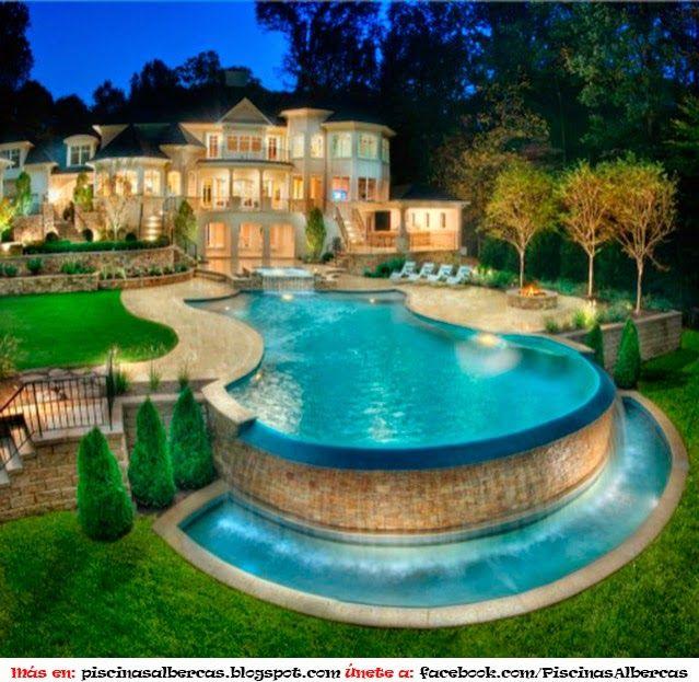 Juegos de agua para piscina albercas para casa for Medidas piscina casa