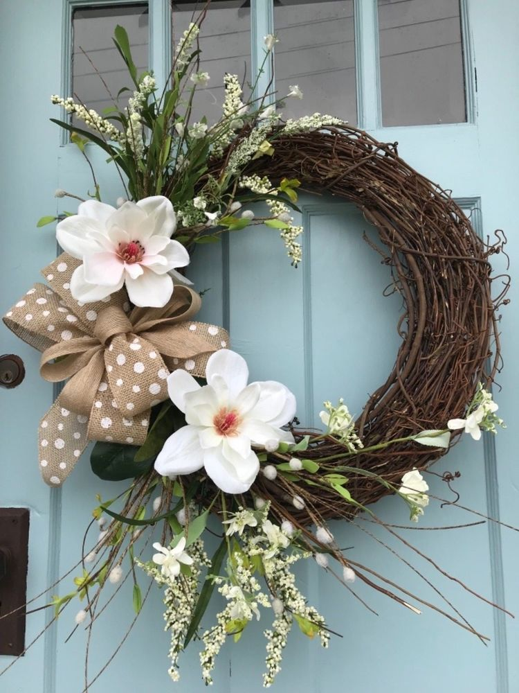 White Magnolia Floral Spring Grapevine Wreath For Front Door Or Wall