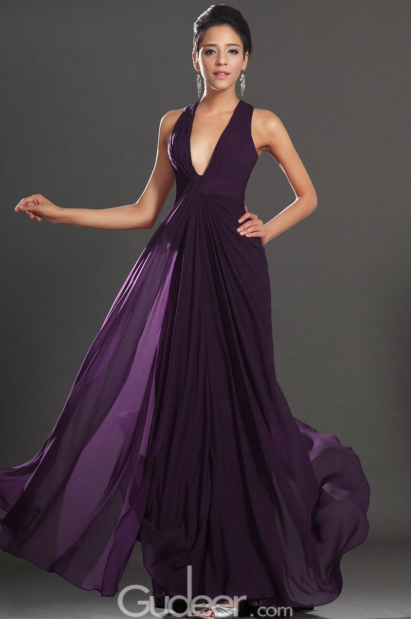 eggplant plunging v-neck sleeveless long formal evening dress with ...