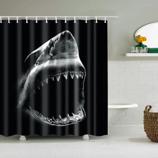 Great White Shark Fabric Shower Curtain Shark Shower Curtain