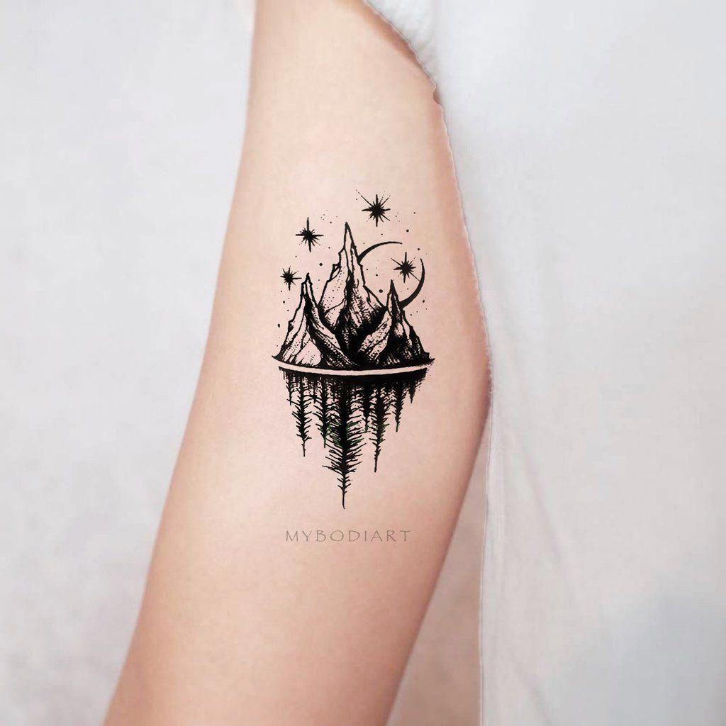 Womens Unique Nature Bicep Arm Tattoo Ideas Mountain Trees Moon Stars Nature Www Mybodiart Com Tattoodesi Simplistic Tattoos Tattoos For Guys Forearm Tattoo