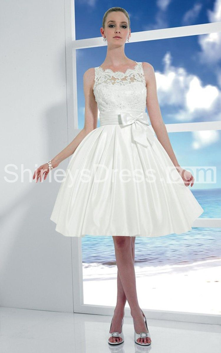 Courthouse wedding dress plus size  Classic Sleeveless Lace Bodice Knee Length Dress With Bow Detail