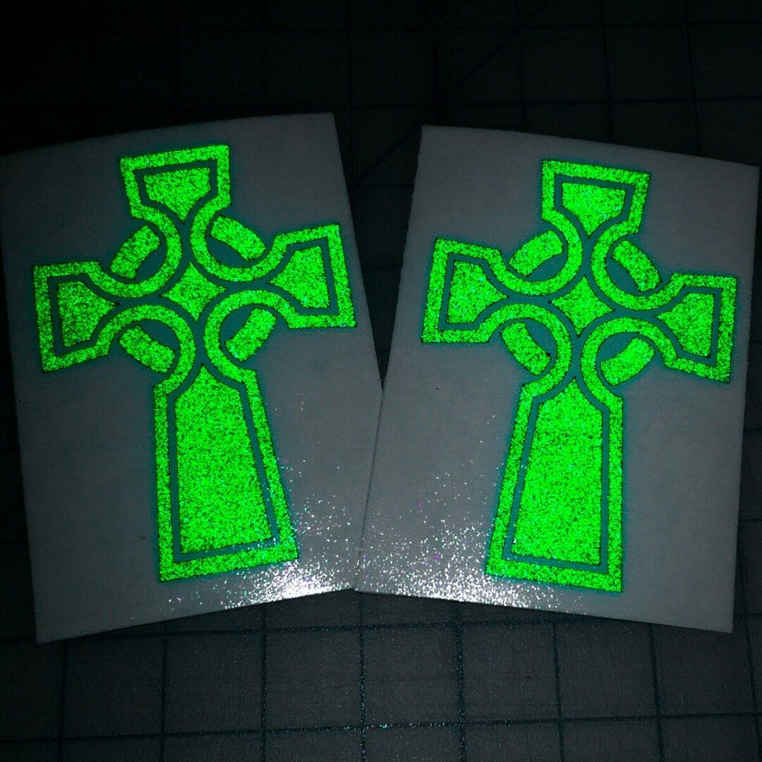 Our single Celtic cross decal in light green reflective