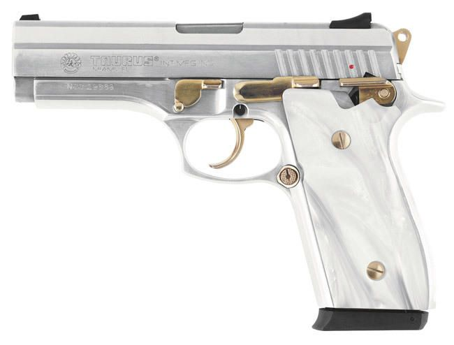 38S  38 SUPER PISTOL WITH GOLD ACCENTS AND MOTHER OF PEARL GRIPS