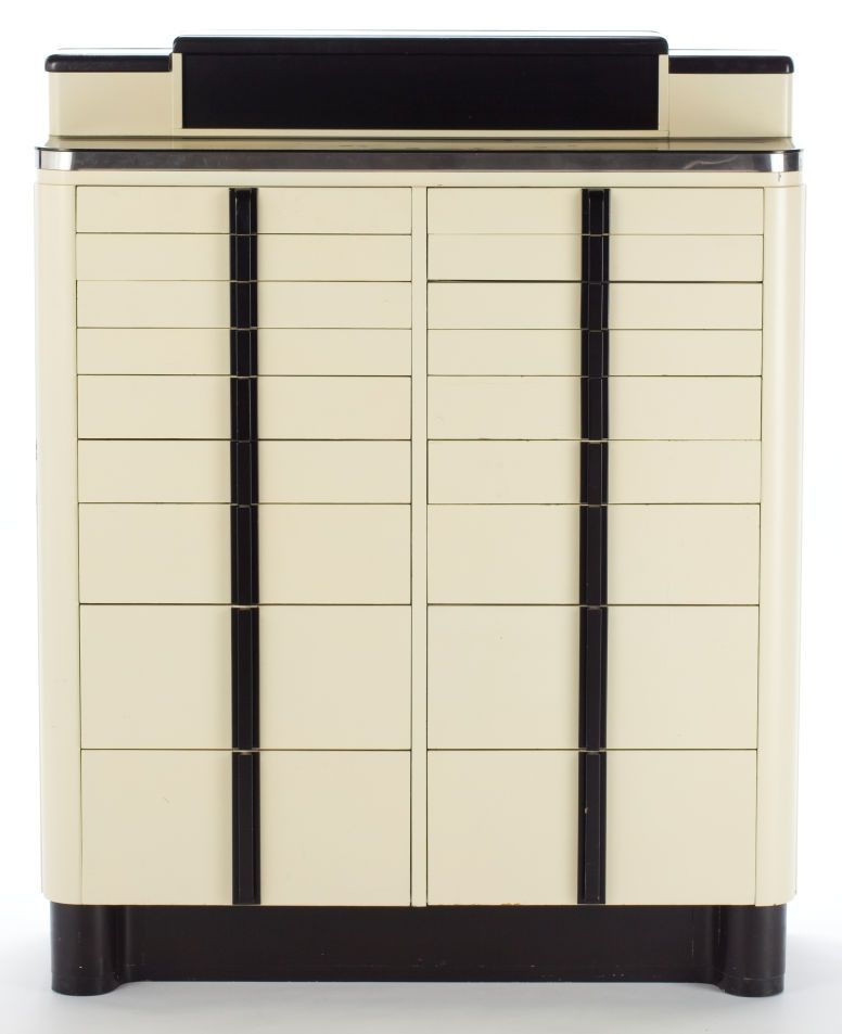 AN AMERICAN CABINET CO. ART DECO ENAMELED METAL DENTIST'S CABINET ...