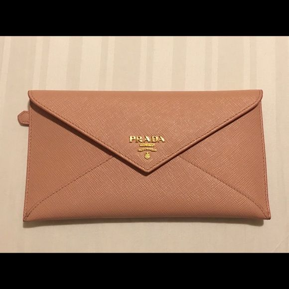 Brand New Prada Envelope Wallet Beautiful Pink Nude Wallet Great For