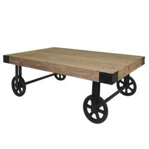 Loft Table Basse Sur Roulettes Vintage En Bois Pin Massif Verni L 110 X L 71 Cm Cdiscount Table Basse Table Basse Mobilier De Salon
