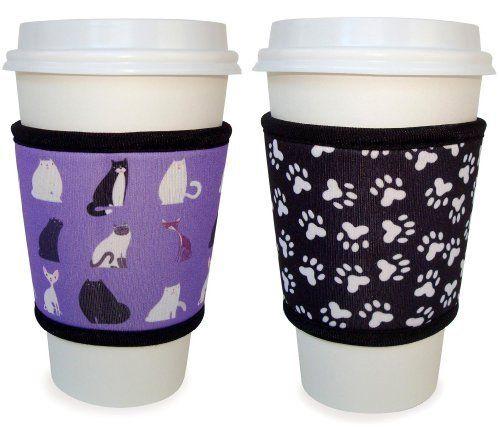 Joe Jacket Reusable Coffee Cup Sleeve Pet Lovers Gift 2 Pack Cats Paw Prints By Joe Jacket 12 99 A Coffee Cup Sleeves Coffee Sleeve Cat Paw Print