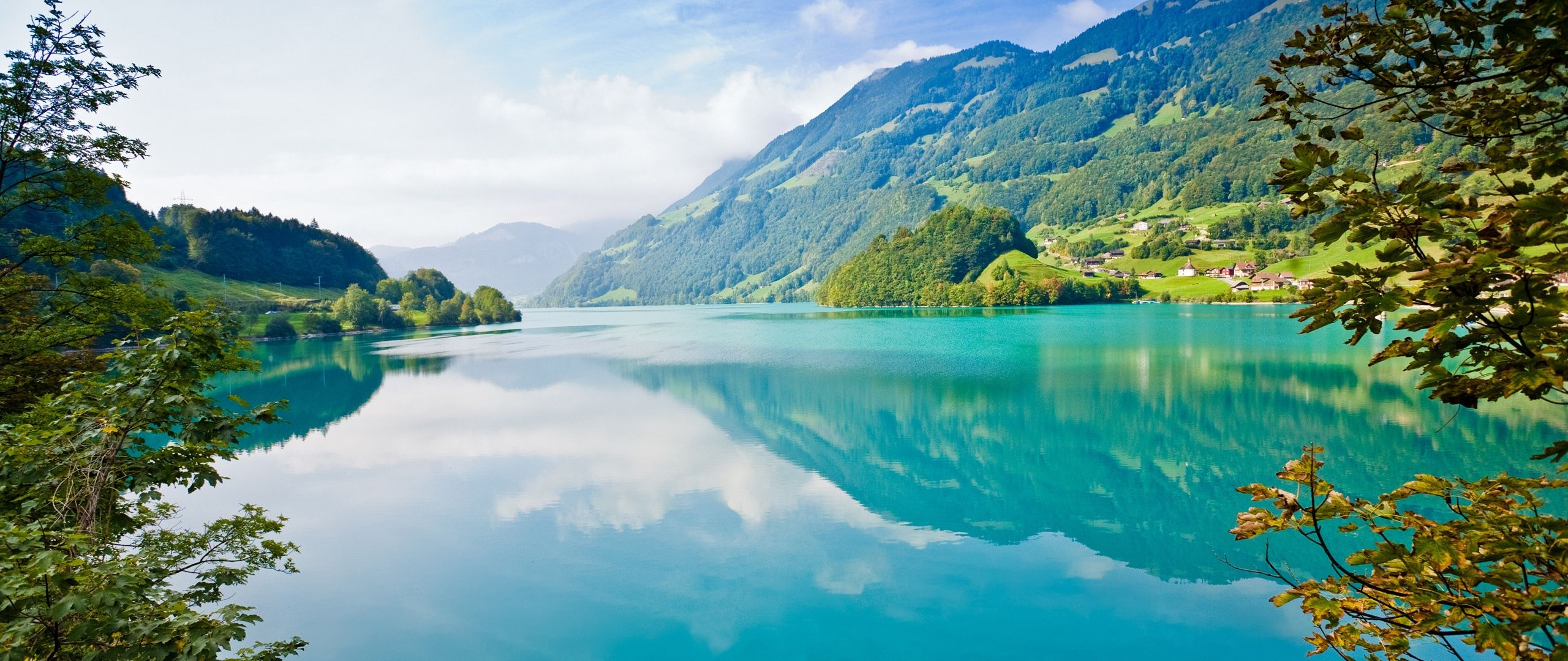I love this pic! The green on the mountains and the blue of the water together...just beautiful!
