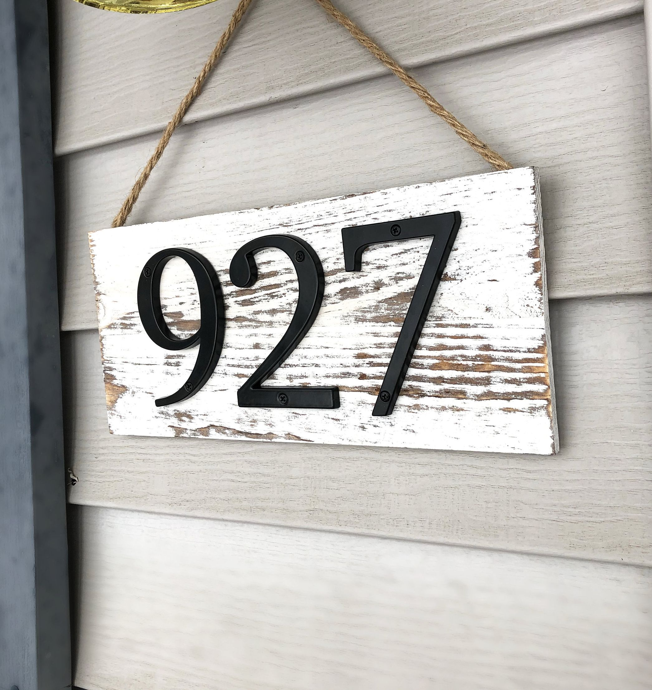 White Distressed Address Sign l Number Sign l Farmhouse