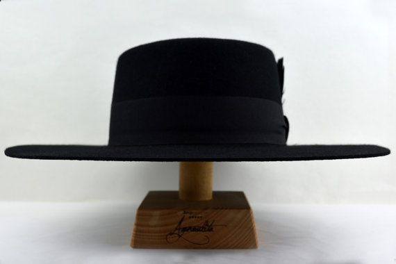 Black Dress Bolero Wide Brim Flat Crown Wool by AgnoulitaHats  b0de8a9da5e4