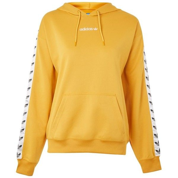 Trefoil Tape Hoodie by Adidas Originals (105 CAD) ❤ liked on Polyvore featuring tops, hoodies, ochre, trefoil hoodie, adidas, sweatshirt hoodies, adidas top and yellow hooded sweatshirt