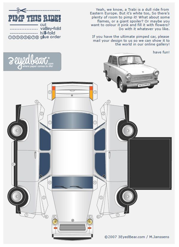 Image Detail For 679 Trabant Voiture Paper Toy Template