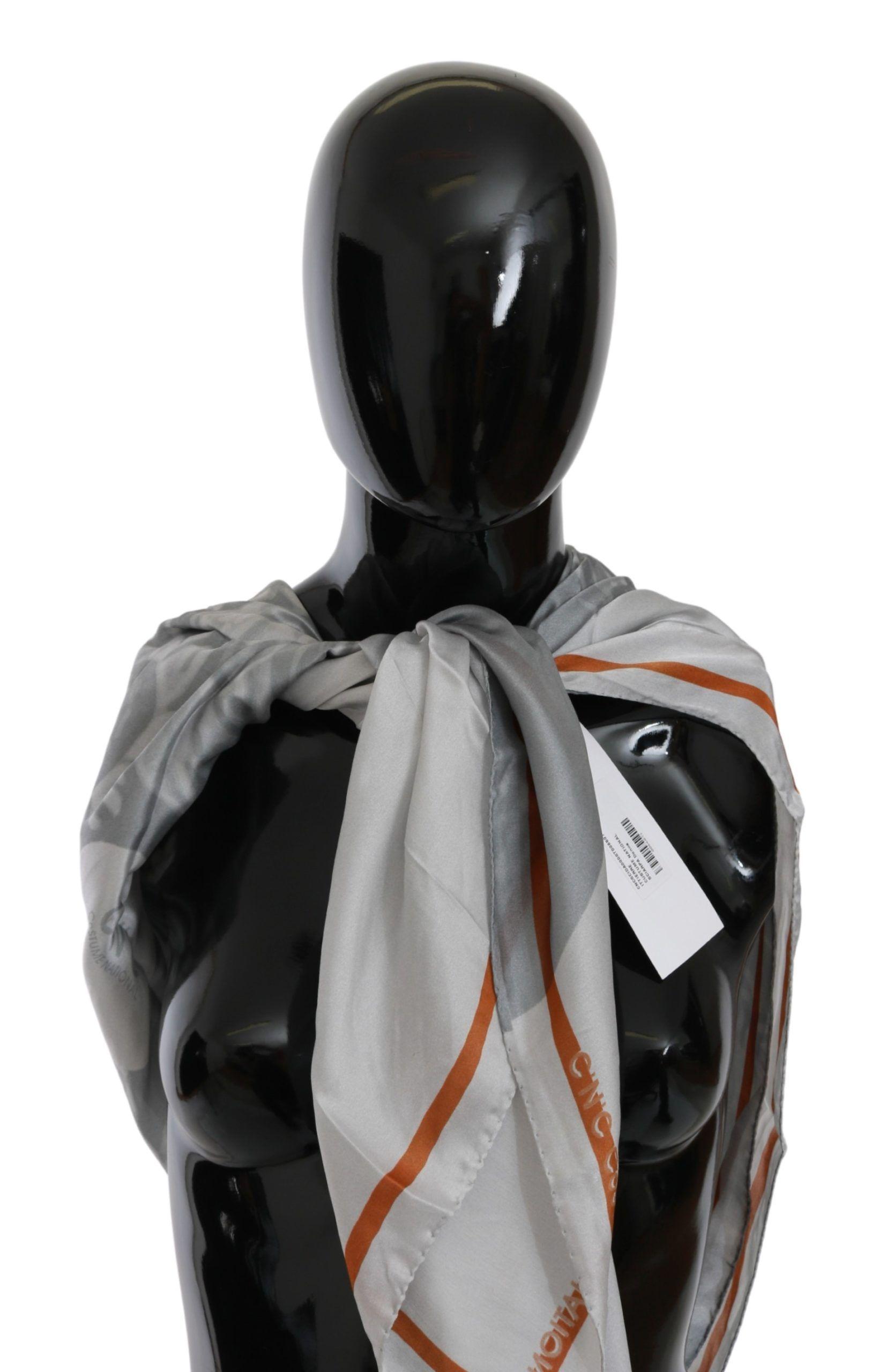Gray Orange Silk Floral Foulard Wrap Scarf