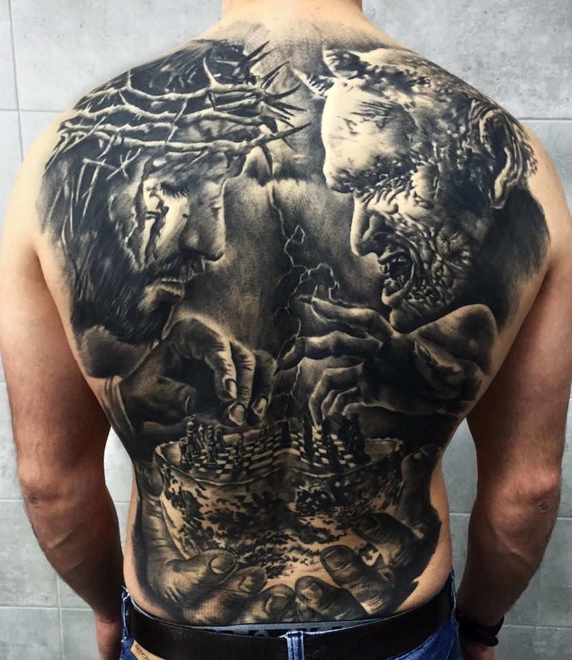 Jezus I Diabeł Tatuaże Na Plecach Tattoos Tatuaże