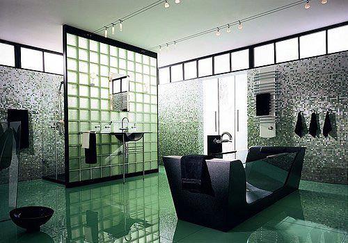 Glazen bouwstenen in badkamer | Interieur inrichting | Glass Block ...