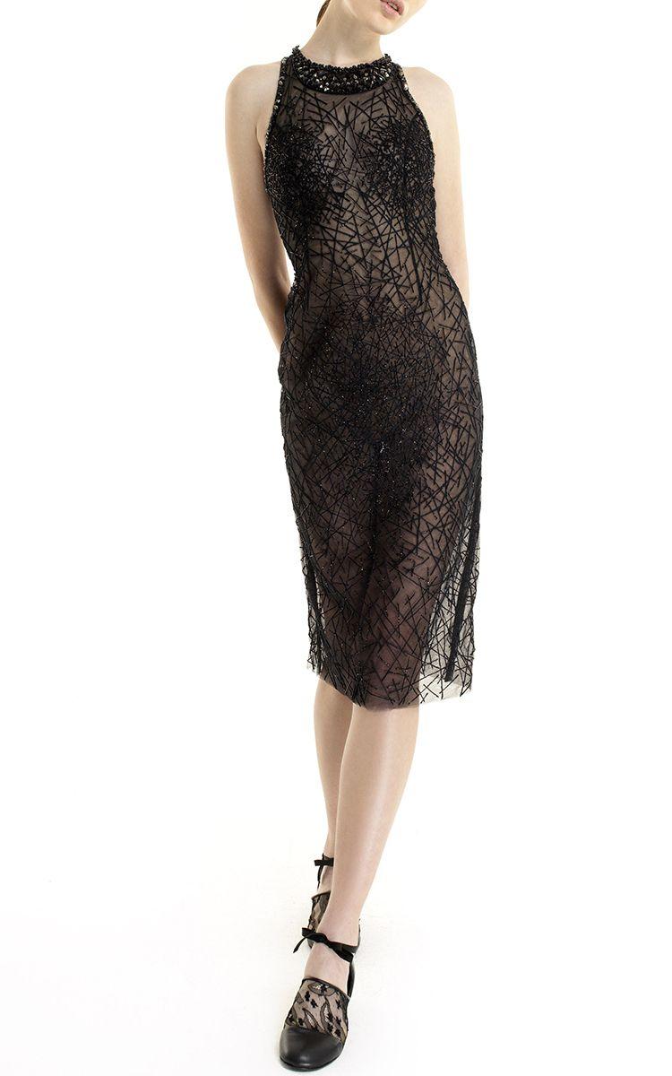 Sleeveless Embellished Knee Length Dress  by GEORGES HOBEIKA for Preorder on Moda Operandi