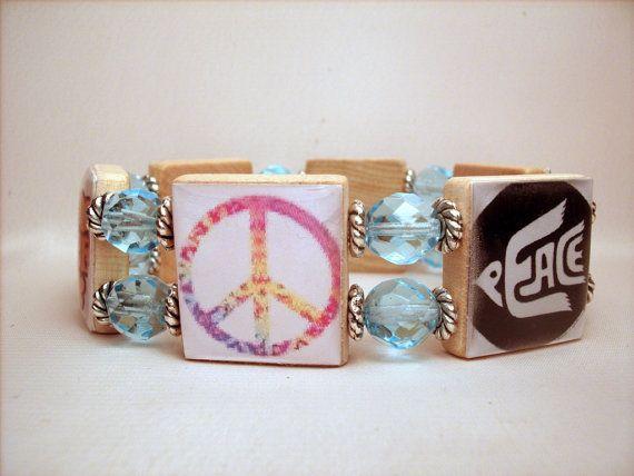 PEACE BRACELET / UPCYCLED / Scrabble Jewelry / Peace Symbol